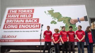 Labour party activists wait next to Labour's 2017 election campaign poster