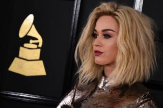 Katy Perry pictured at the 59th Grammy Awards on February 12, 2017, in Los Angeles