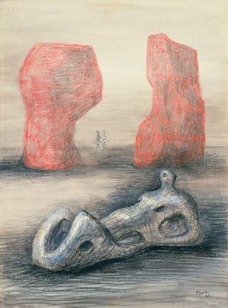 A sketch of a sculptor of a reclining figure
