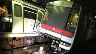 Mass Transit Railway (MTR) trains collide near Central station during a signal system trial in Hong Kong, 18 March 2019