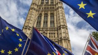 EU flags at Westminster