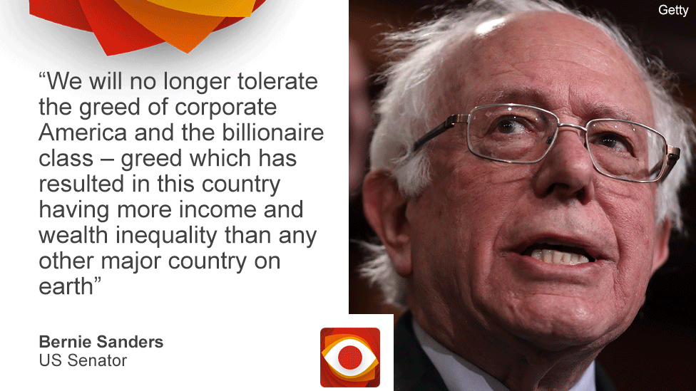 """Photo of Bernie Sanders and the quote: """"Greed has resulted in this country having more income and wealth inequality than any other major country on Earth."""""""