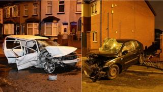 Aftermath of head-on crash in Fazakerley