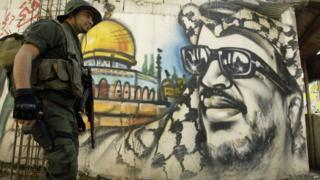 Mural of the late Palestinian leader Yasser Arafat in