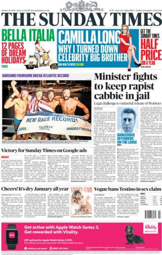 The Sunday Times front page