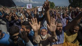 Demonstrators in Srinagar on 23 August 2019