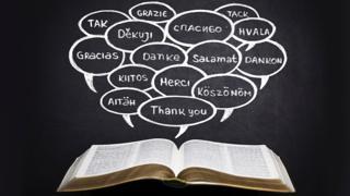 Libro y gracias en diferentes idiomas