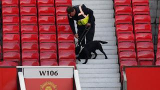 Sniffer dog in Old Trafford
