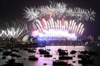 Fuegos artificiales en el puerto de Sidney.