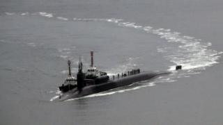 USS Michigan, kapal selam AS bertenaga nuklir yang berlabuh di pelabuhan Busan.