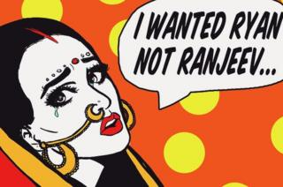 Art by Maria Qamar with woman in traditional Indian jewellery accessories saying 'I wanted Ryan not Ranjeev