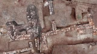Aerial shots of archaeological site in southern Peloponnese, Greece