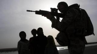 British officer on patrol in Basra in April 2009