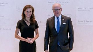 Elizabeth Kennedy Trudeau with Woody Johnson, the US ambassador to the UK