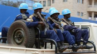 A 2014 picture showing UN peacekeepers serving in the CAR capital Bangui