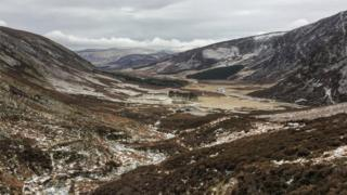 Megan Mackie says this was the view back along Glen Mark with the Queen's Well just visible in the centre of the picture.