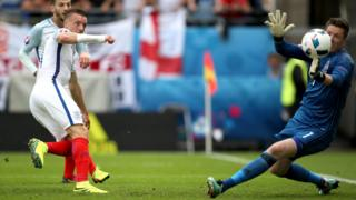 Vardy scoring in England's 2-1 win over Wales at Euro 2016