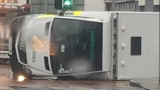 overturned ambulance