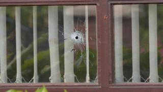 Bullet hole in the window of a house in Lurgan