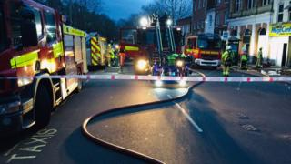 Firefighters in High Street, Aldershot