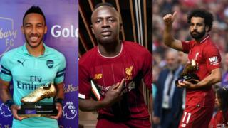 Gabon Pierre-Emerick Aubameyang (Arsenal) Left, Senegal Sadio Mane (Liverpool) Middle, Egypt Mohammed Salah (Liverpool) Right
