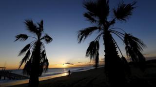 Turkish beach at sunset