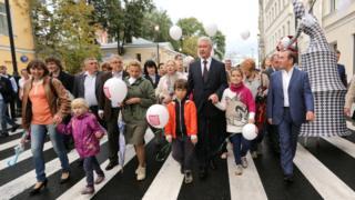 Сергей Собянин на открытии пешеходных зон в Москве
