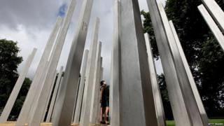 The permanent 7 July Memorial to honour the victims of the July 7th 2005 London bombings (also known as the 7/7 bombings), in Hyde park on July 6, 2009 in London, England