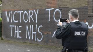 Victory to the NHS graffiti in Londonderry
