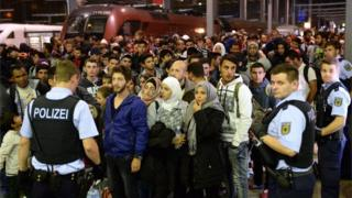 Migrants arriving in Munich, 12 September 2015