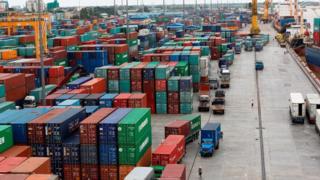 Containers at Asia World port in Yangon