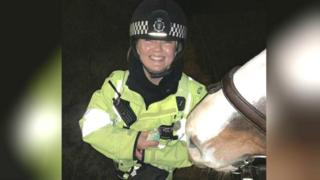 Police officer with horse and budgie
