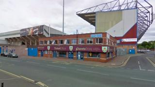 The junction of Harry Potts Way and Higgin Street outside Turf Moor