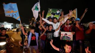 Supporters of Moqtada Sadr celebrate in Baghdad, Iraq (14 May 2018)