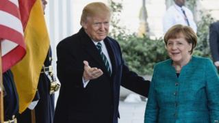 Trump na Angela Merkel wa Ujerumani