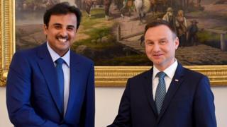 أمير قطر مع الرئيس البولندي