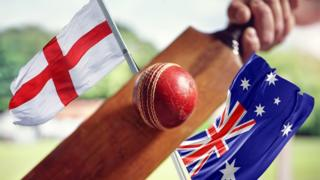 The flags of England and Australia with a cricket bat