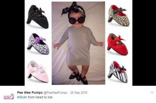 A tweet on the Pee Wee Pumps Twitter feed shows a baby in soft heels
