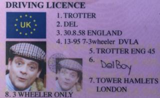 Del Boy driving licence