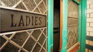The doors to the ladies' lavatories in the gala pool area of Moseley Road Baths