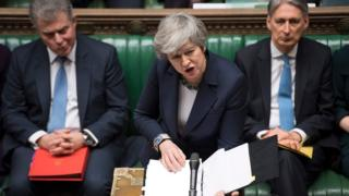 """Britain""""s Prime Minister Theresa May speaking during the weekly Prime Ministers Questions session in the House of Commons in London on March 13, 2019"""