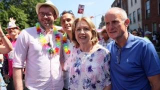 Mary McAleese with her husband Martin, her son Justin and his husband Fionan during the Pride parade in Dublin