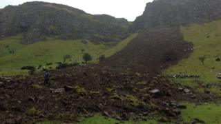 The landslide at Dermot McDonnell's farm in the Glens of Antrim