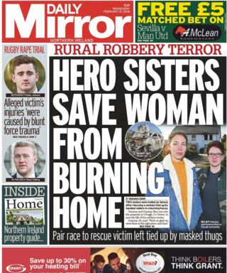 Daily Mirror front page 21/02/18