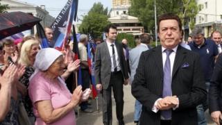 Iosif Kobzon (right) visits Donetsk. Photo: May 2015
