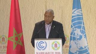 Frank Bainimarama at climate talks