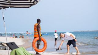 A lifeguard on a beach in Lagos, Nigeria