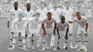 The French team line up before a match with Uruguay
