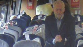 Jeremy Corbyn on board a train