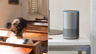 Woman sitting in church and Amazon's Alexa